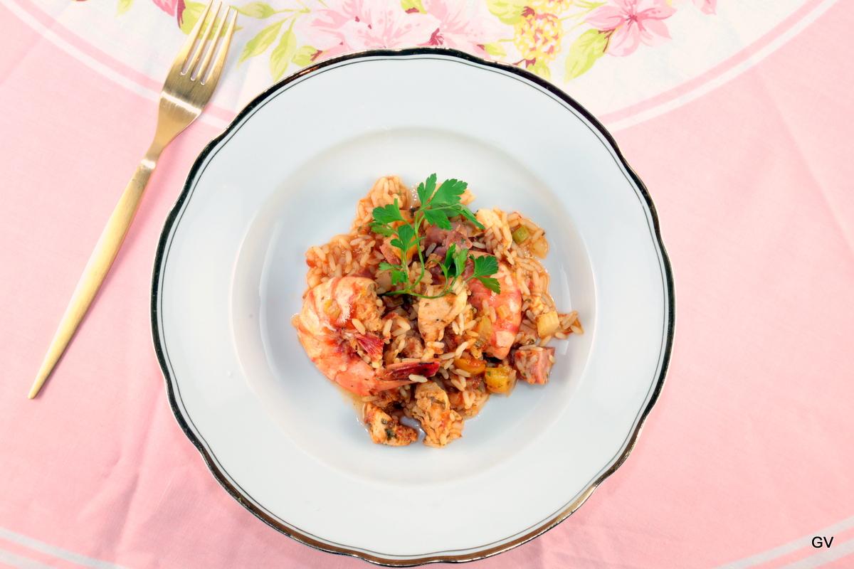 Jambalaya au poulet et jambon