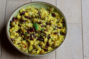 salade de riz aux haricots rouge